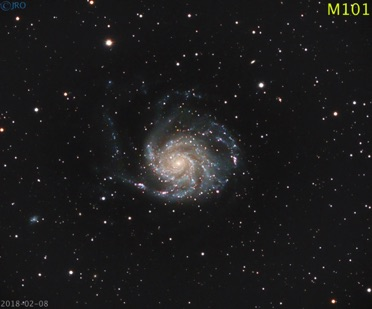 M101 2/8/18  71x65 sec subs  QHY367c on RASA