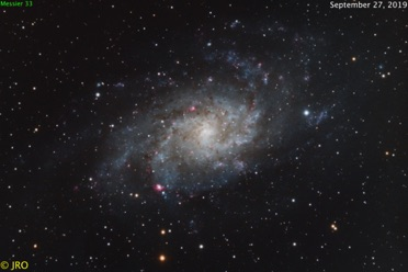 M33  9/27/19  63x300sec subs, total time 5.25 hours @ f/6.6  ZWO ASI1600 on Orion 104mm EON / CGEPro