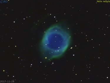 Helix nebula 95 minutes total integration time of Ha, SII and OIII 11/28/17