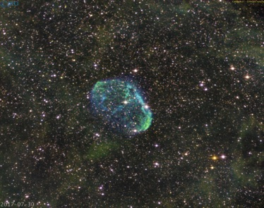 Crescent nebula 7/30/17 Ha-SII-OIII 45 minutes exposure time processed 8/4/17 in pi