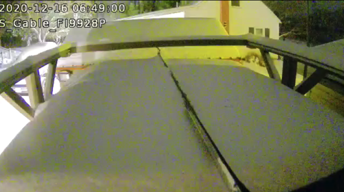 You can see the roof of the Annex covered in the snow a couple of weeks ago. Just swallowing up the screw drive opener for JRO.  This is not good and is the driver for the automated roof snow/ice melt system.