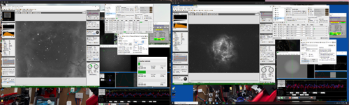 This is a screenshot of me imaging the Rosette nebula on the left with the RC and on the right with the Takahashi